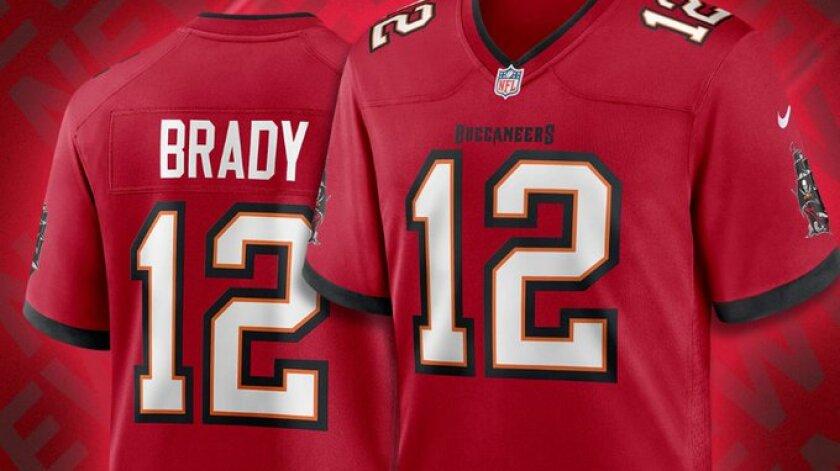 Tom Brady's Buccaneers uniform shown on NFL SHOP.