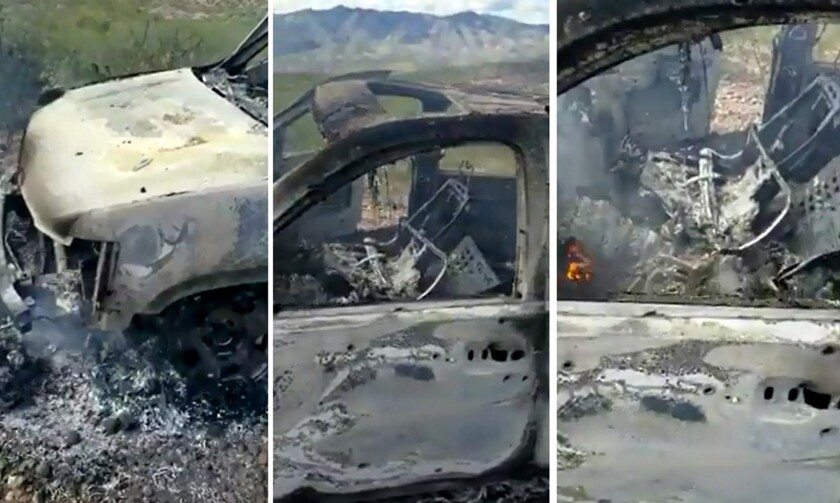 Images from video of one of the vehicles attacked by an armed group in northern Mexico