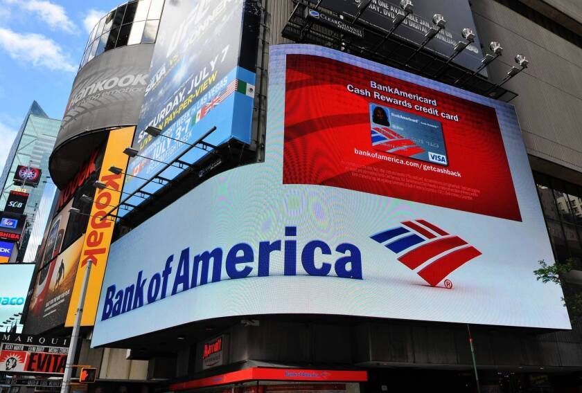 BofA hopes to use its new card to encourage lower-income borrowers to pay on time and more than the minimum and to expand their relationship with the bank through other accounts and services. Above, a branch in New York's Times Square.