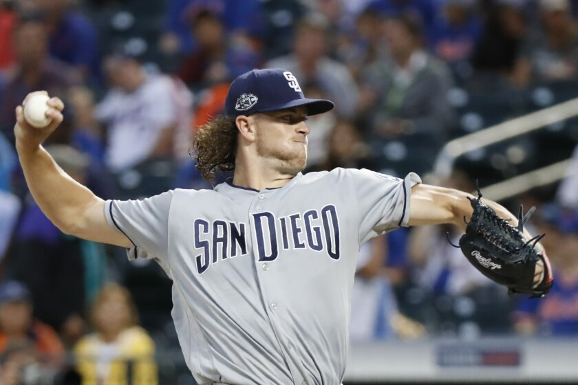 Padres starter Chris Paddack pitches during Tuesday's first inning against the Mets.