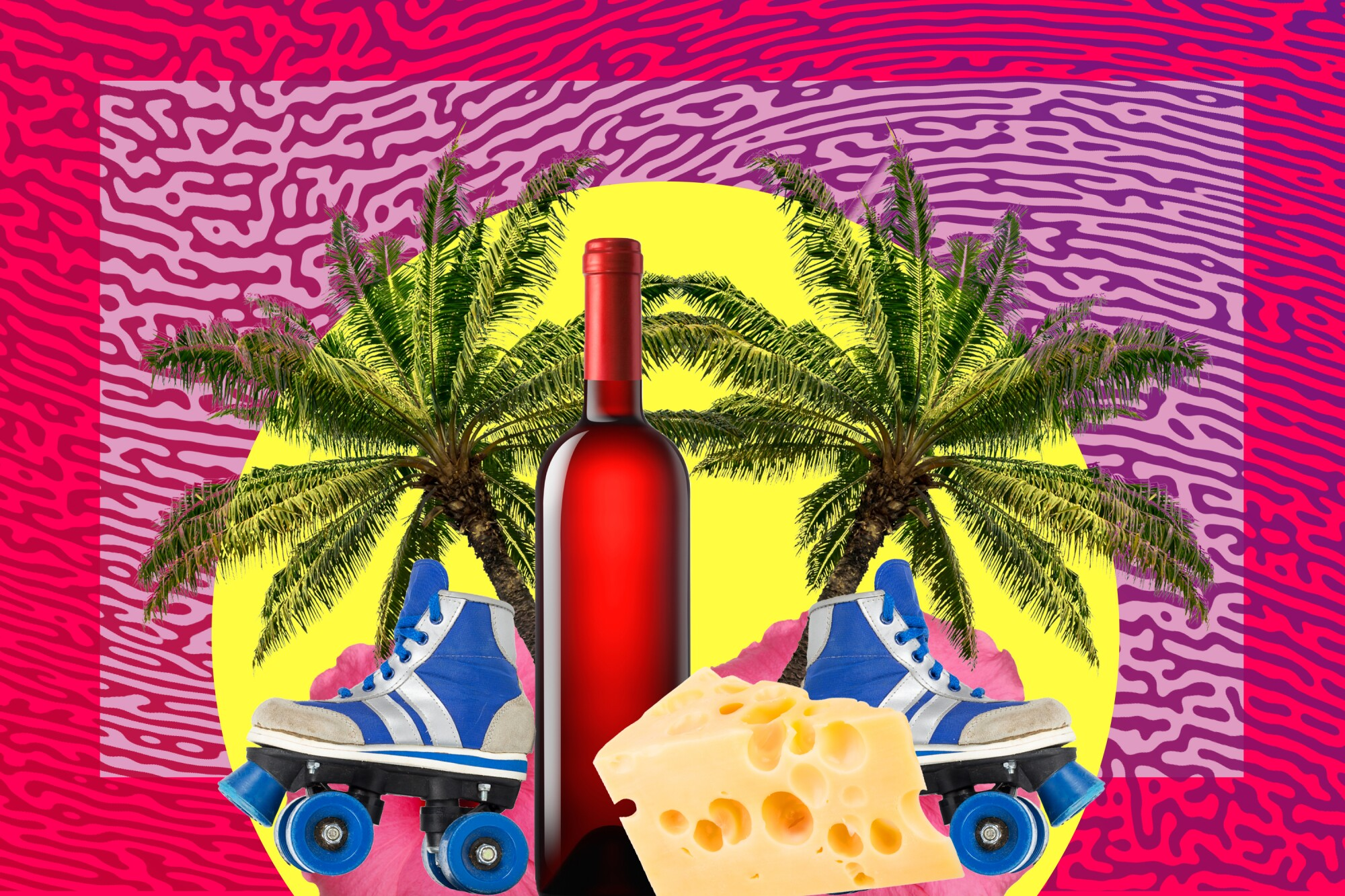 Illustration of palm trees, wine, cheese and roller skates.