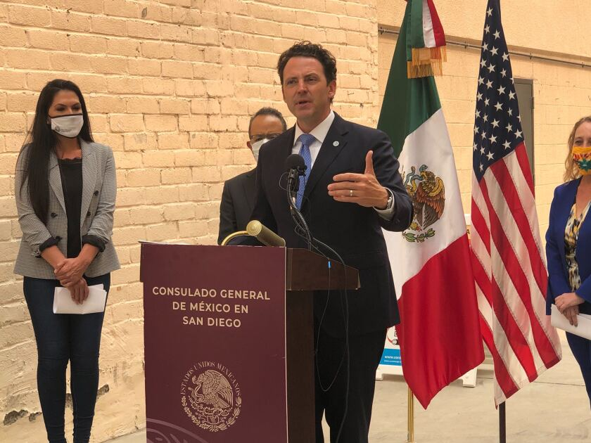 Supervisor Nathan Fletcher discusses additional COVID-19 testing locations outside the Mexican Consulate in San Diego