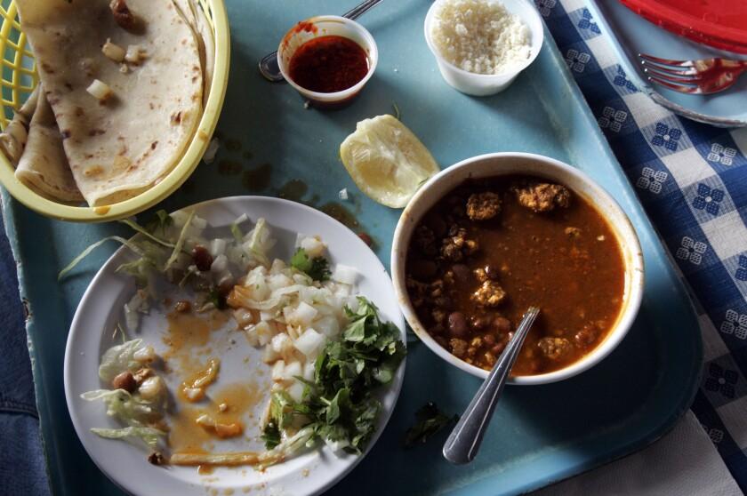 Food at Las Cuatro Milpas in Barrio Logan.