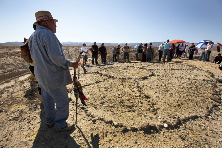 Tribal leaders from San Diego and Imperial counties gather west of Ocotillo for a series of ceremonies around a sacred spirit circle near where a wind farm is planned.