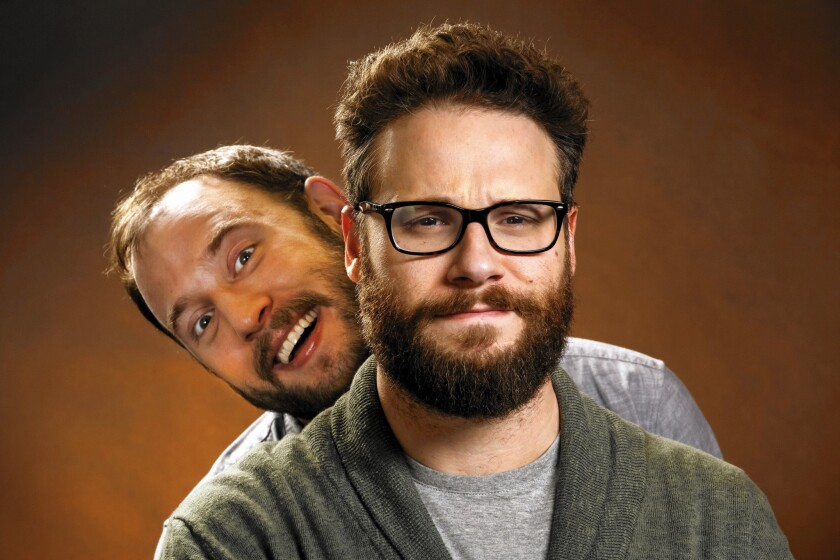 """Actors Evan Goldberg, left, and Seth Rogen of the film """"The Interview"""" at the SLS Hotel."""