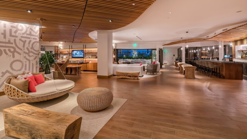 The Hyatt Centric Waikiki Beach lobby reflects the blend of old and new.