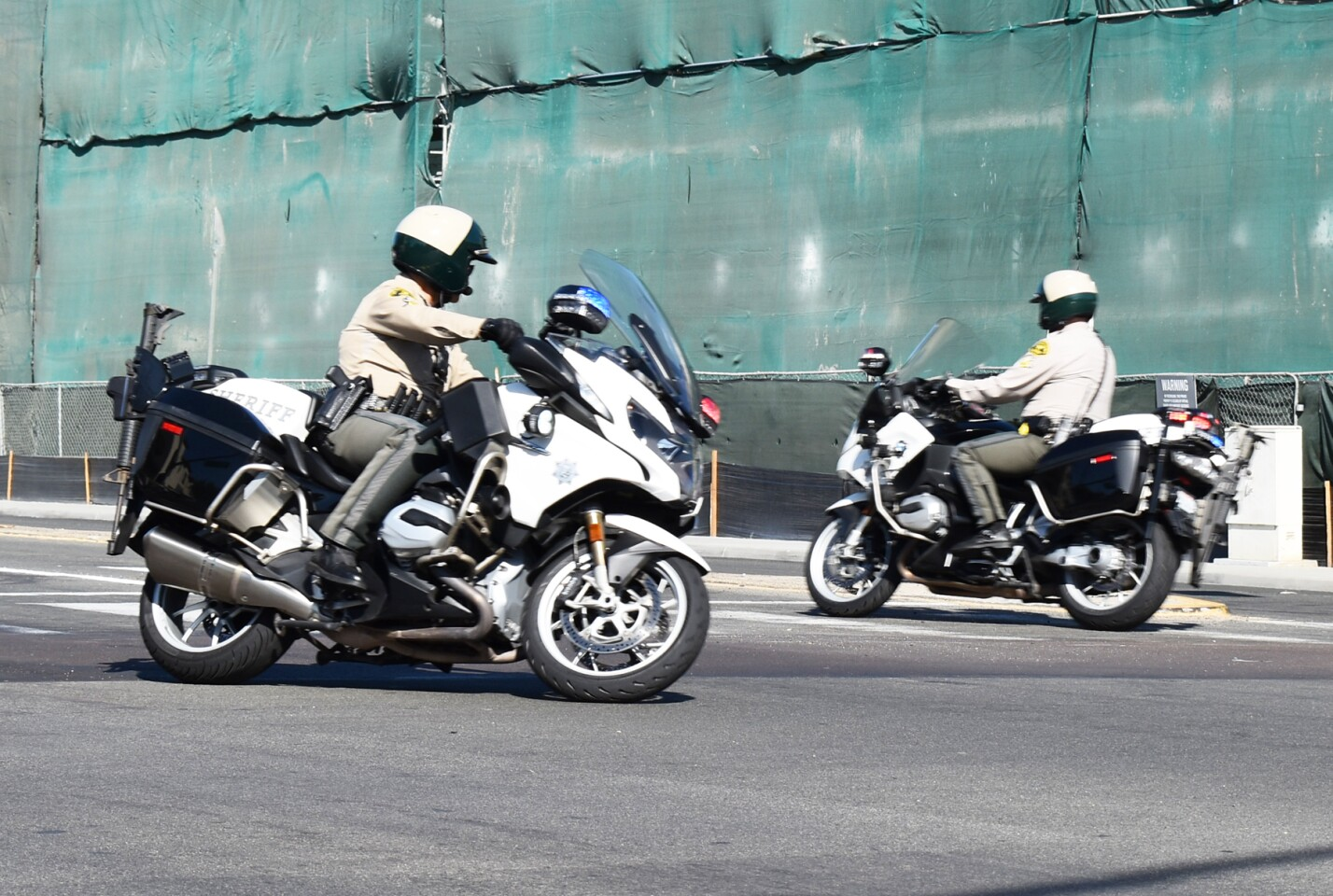 San Diego County Sheriff's Department motorcycle officers.