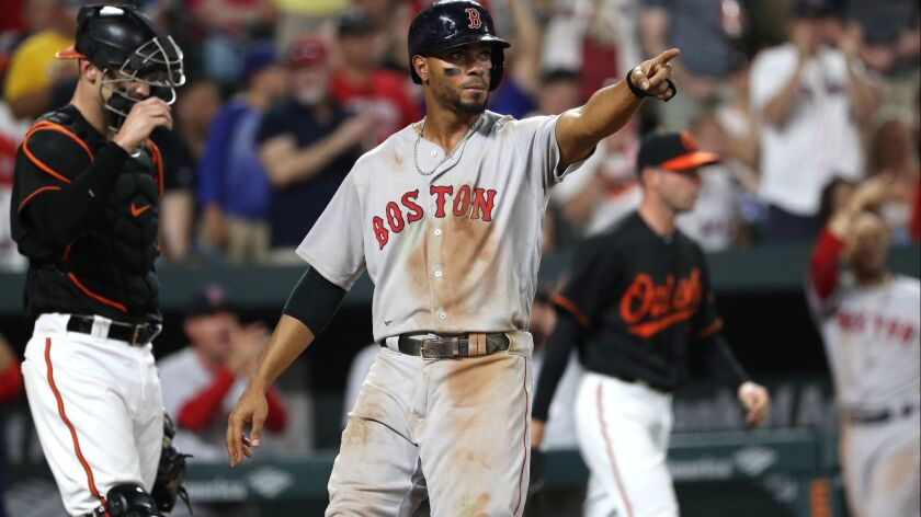 Xander Bogaerts of the Boston Red Sox celebrates after teammate Brock Holt (not pictured) hit an RBI single to score two runs against the Baltimore Orioles during the sixth inning at Oriole Park at Camden Yards on August 10, 2018 in Baltimore, Maryland.