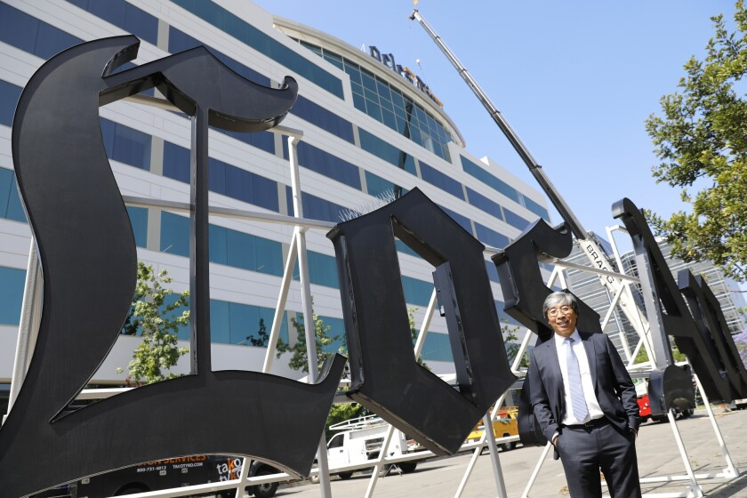 Dr. Patrick Soon-Shiong in front of The Times' building in El Segundo