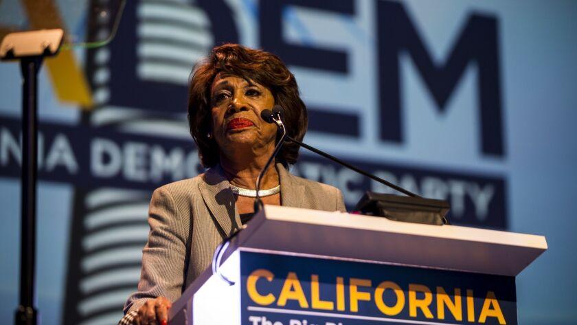 SAN DIEGO, CA - FEBRUARY 24: U.S. Representative Maxine Waters speaks at the 2018 California Democra