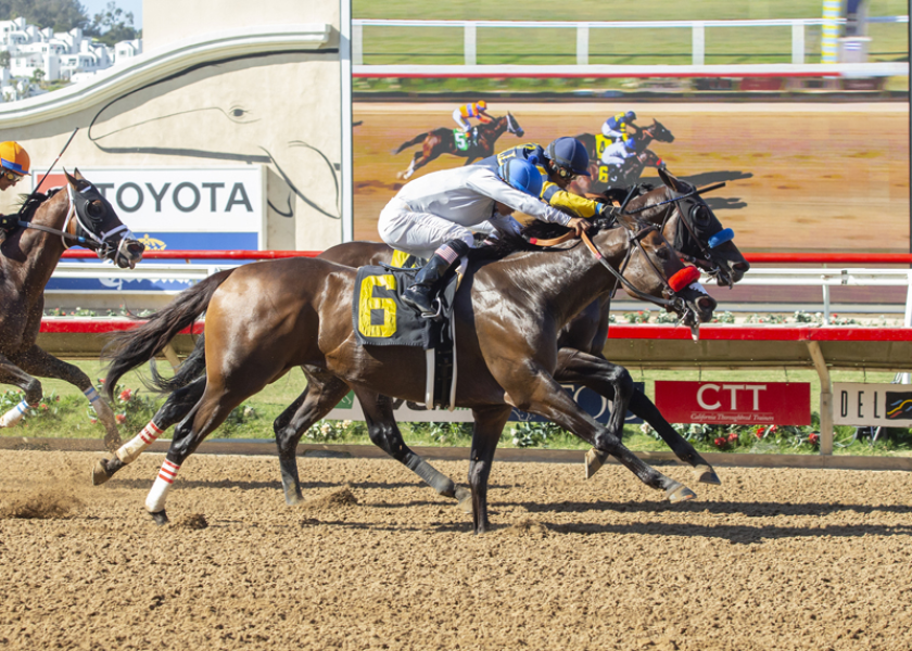 Two Thirty Five (6) and jockey Abel Cedillo outfinish Leading Score to win the Harry F. Brubaker Stakes on Wednesday at Del Mar.