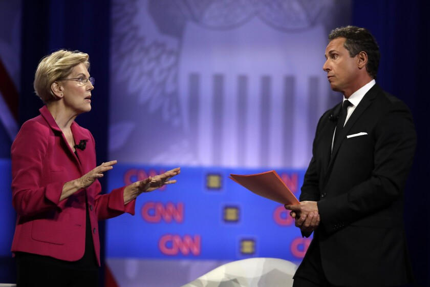 Elizabeth Warren answers a question from CNN moderator Chris Cuomo at the town hall in downtown Los Angeles.