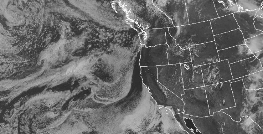 A thick layer of clouds lingered over Southern California on Monday