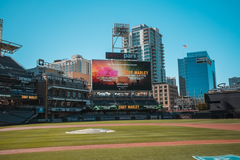 A view of Petco Park, the location for a Ziggy Marley concert.