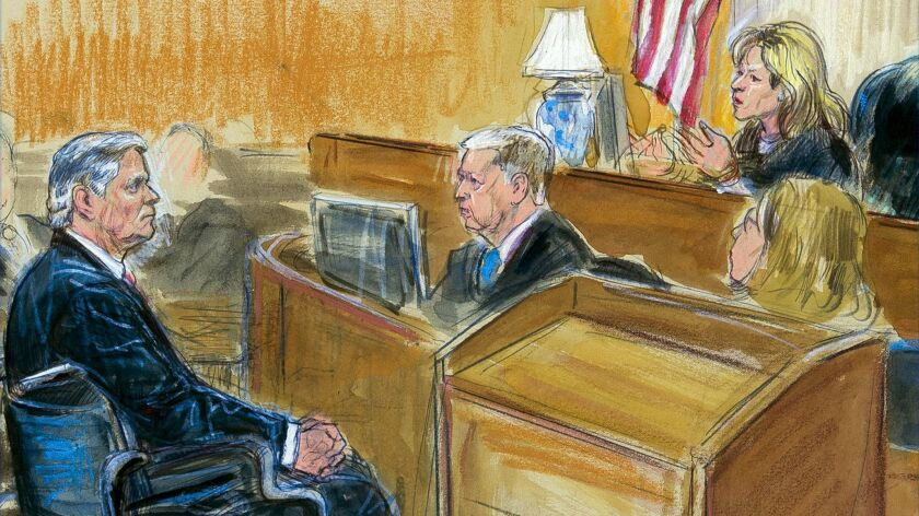 This courtroom sketch shows Paul Manafort listening to Judge Amy Berman Jackson in the U.S. District