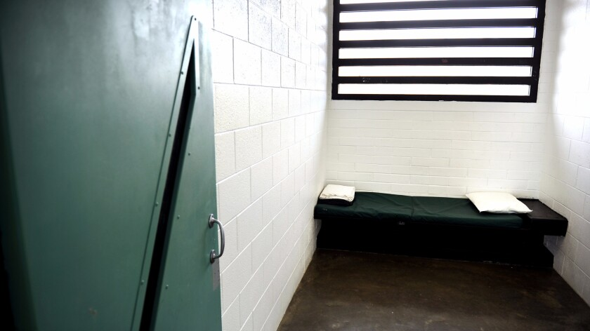 An empty solitary confinement cell at the Barry J. Nidorf Jevenile Hall in Sylmar on June 9, 2015. Earlier this year, Los Angeles County approved sweeping restrictions on the use of solitary confinement for juvenile detainees.