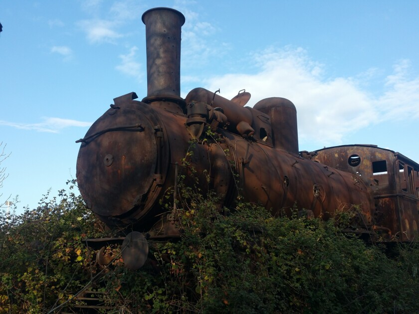 A rusting locomotive sits at the abandoned train station in Tripoli, Lebanon.