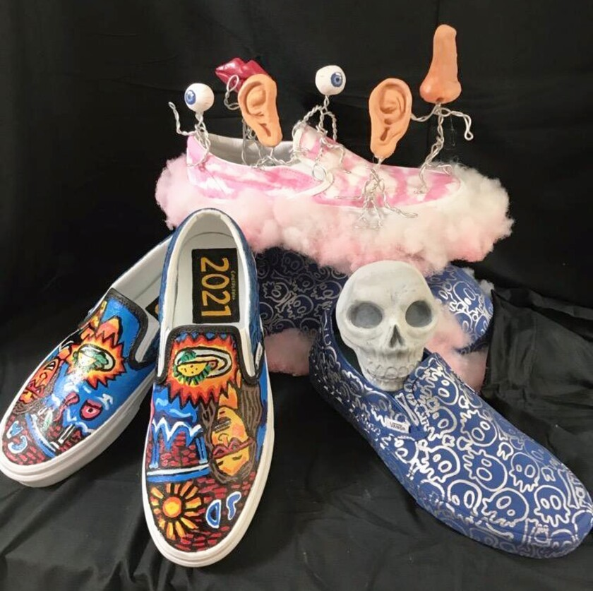 The shoes designed by Del Norte High students for the Vans Custom Culture Contest.