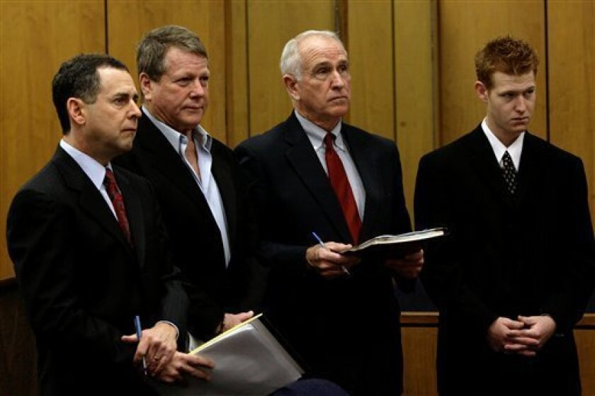 Attorney Mark Werksman, left, Ryan O'Neal , second left, attorney William, J, Slattery and Redmond O'Neal, right, stand during arraignment on felony drug charges in Malibu, Calif., Friday, Jan 9,  2009. Ryan O'Neal pleaded guilty Friday to a felony count of possession of methamphetamine stemming fr