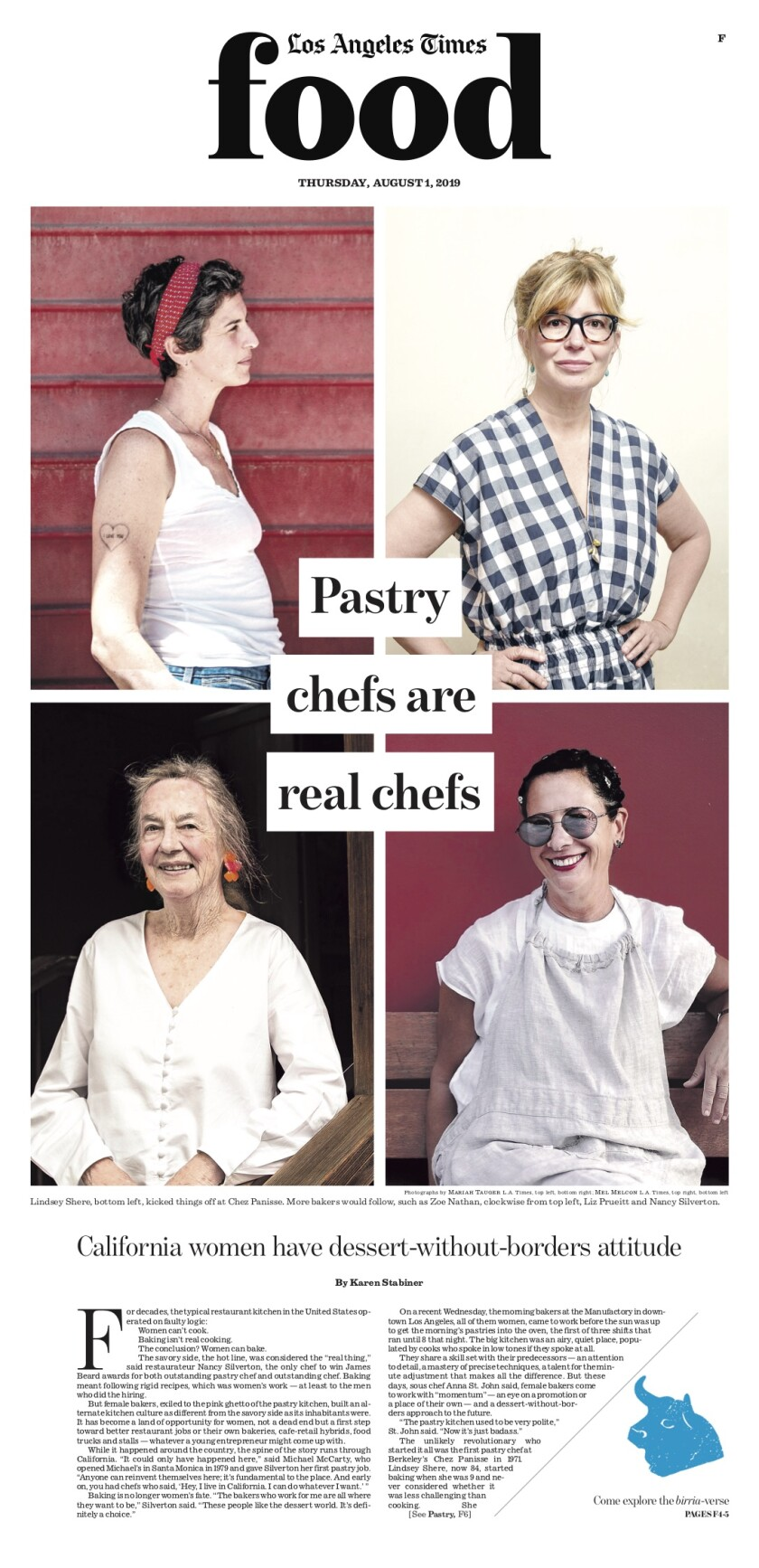 Los Angeles Times Food cover, August 1, 2019