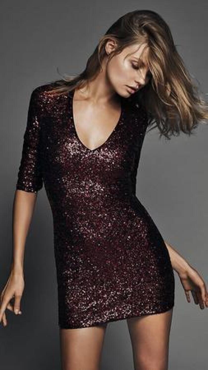 Red sequin dress. (express.com)