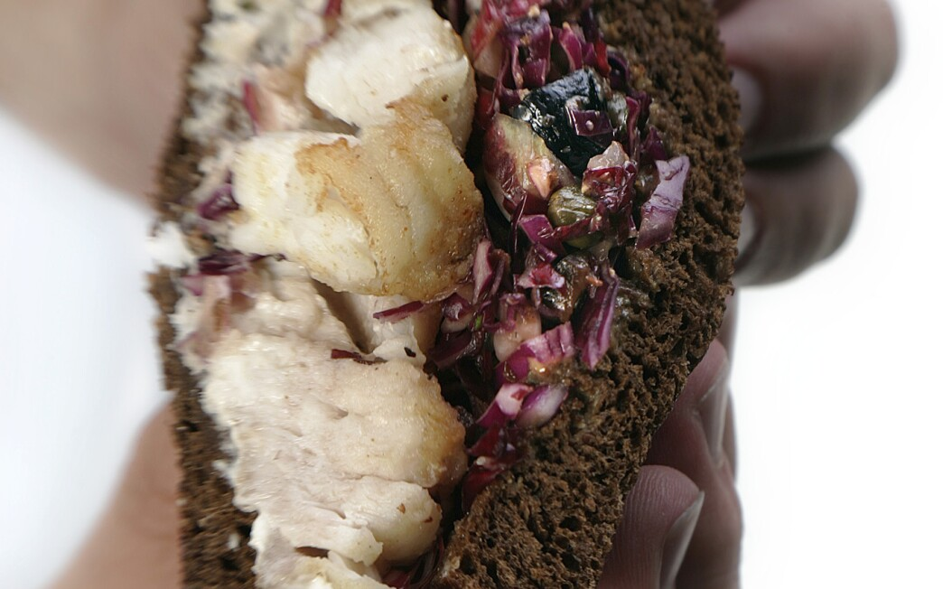 Pan-fried cod with radicchio slaw on pumpernickel