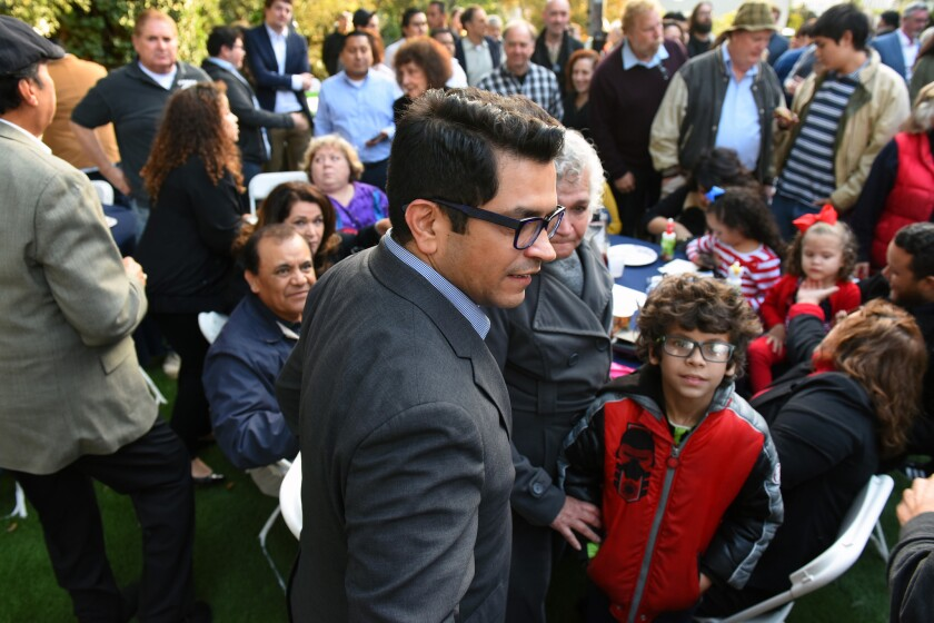 Assemblyman Jimmy Gomez, with mother Socorro and nephew Teagan Provance, at a campaign kickoff event in Eagle Rock.