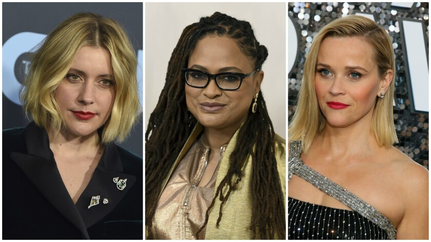 From left: Greta Gerwig, Ava DuVernay and Reese Witherspoon are among 50 signatories to a letter to the Directors Guild of America urging the organization to adopt improved parental leave policies.