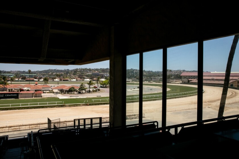 The Del Mar Fairgrounds lies empty during the coronavirus pandemic on May 27, 2020. Fairgrounds officials are asking people to support a request for $20 million in federal aid to help them weather the financial blow they've taken during the pandemic.