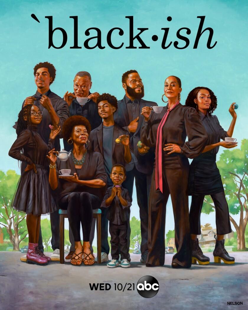 "The key art for Season 7 of ""black-ish,"" featuring Kadir Nelson's painting ""Black-ish Tea."""