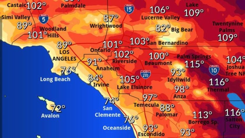 Worst of Southern California heat wave and smog hit Saturday - Los