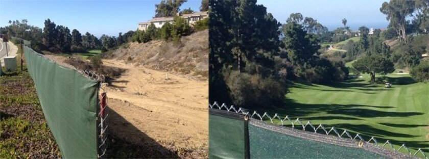 City Code Enforcement had the owner of a property at La Jolla Country Club Estates remove the rest this chain-link fence and green tarp along Nautilus Street that was blocking a projected public view to the coast. The owner had previously removed only a westerly portion of the fence after a member
