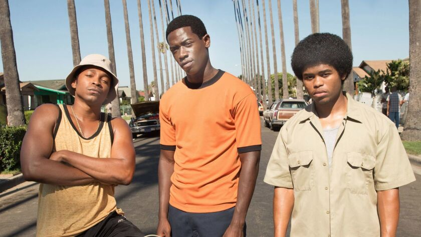 "The rise of the crack cocaine epidemic is dramatized in the new FX series ""Snowfall,"" with Malcolm Mays, left, Damson Idris and Isaiah John."