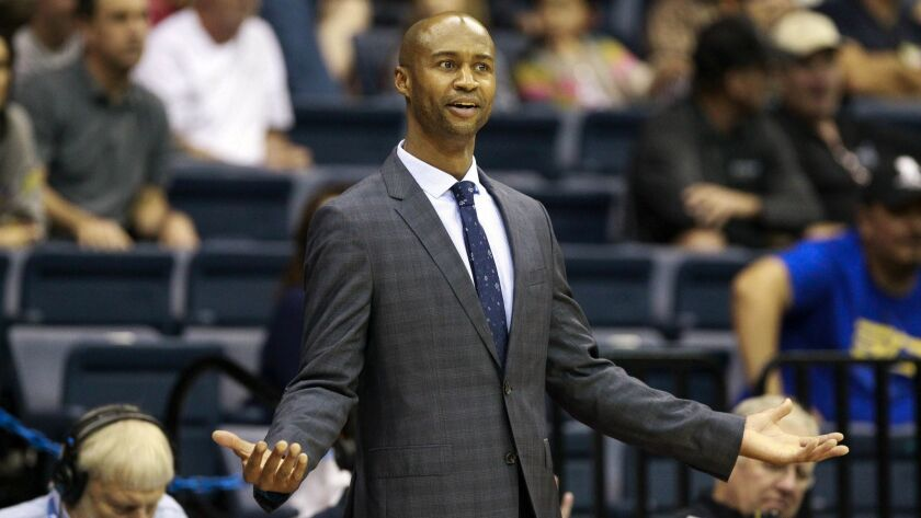 SAN DIEGO, December 30, 2017 | USD coach Lamont Smith reacts during the second half against Pepperdi
