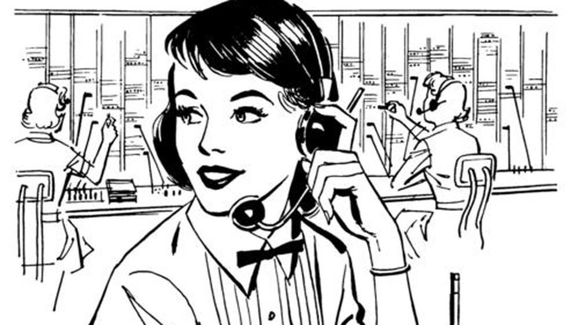 A drawing of a switchboard operator