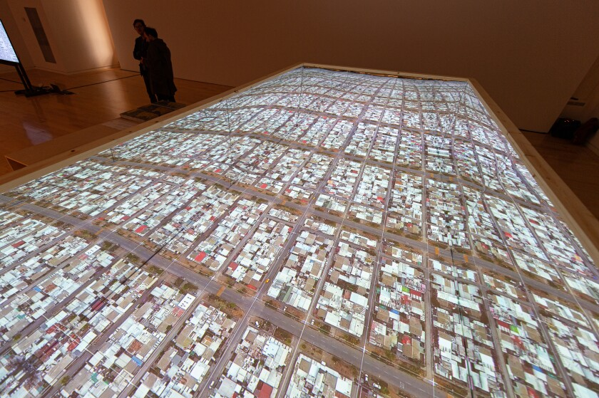 An installation by Alejandra Celedon, Nicolas Stutzin and Javier Correa at the Chicago Architecture Biennial.