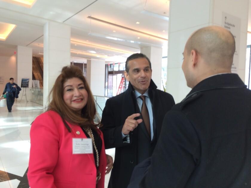 Former L.A. Mayor Antonio Villaraigosa speaking Wednesday to supporter in Washington.