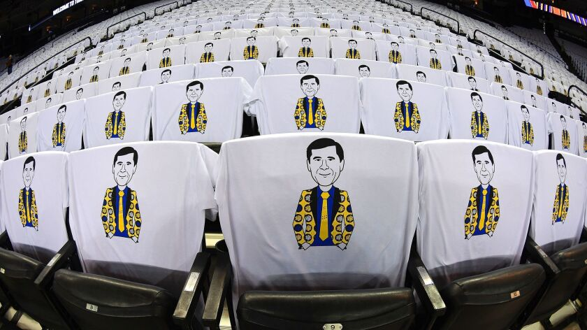 Prior to game between the San Antonio Spurs and Golden State Warriors in October, spectators found Craig Sager t-shirts on the seats.
