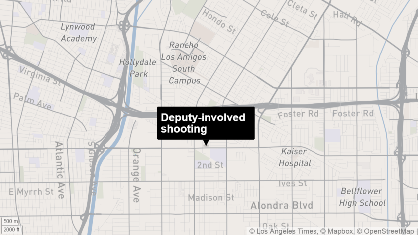 A Los Angeles County Sheriff's deputy shot a person Monday near train tracks in Paramount, authorities said.