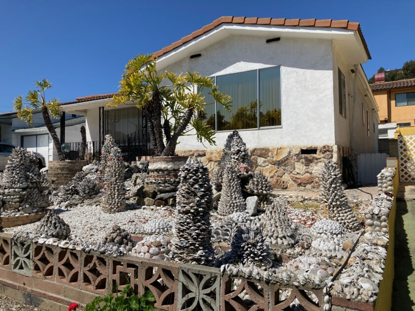 This unusual seashell sculpture garden in front of a home on Rosecrans Street in Point Loma has long attracted lookie-loos.