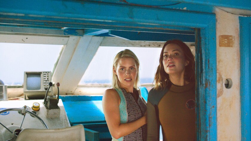 """Claire Holt, left, and Mandy Moore in the film """"47 Meters Down."""""""