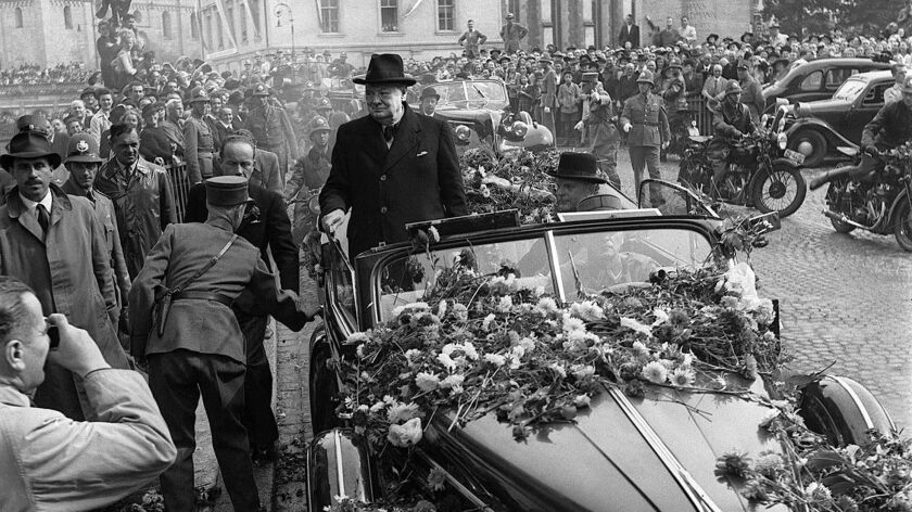 British Prime Minister Winston Churchill is welcomed by thousands as he arrives Sept. 19, 1946 in Zurich, Switzerland.