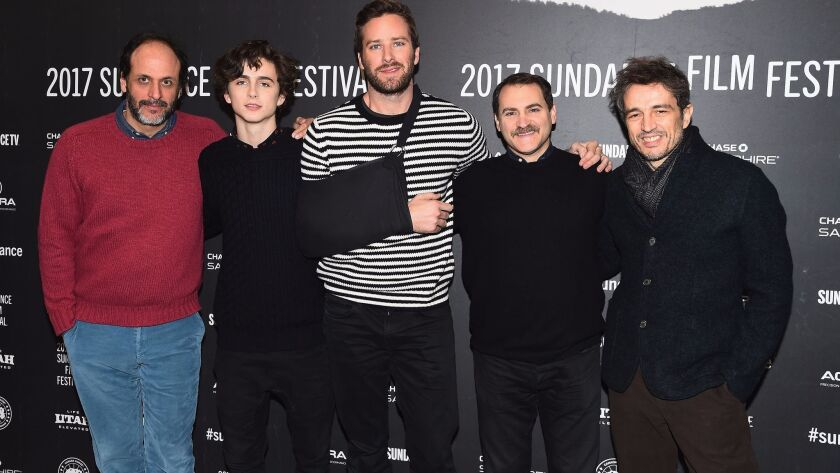 """Flimmaker Luca Guadagnino, left, Timothee Chalamet, Armie Hammer, Michael Stuhlbarg and Walter Fasano attend the """"Call Me by Your Name"""" premiere at the 2017 Sundance Film Festival."""