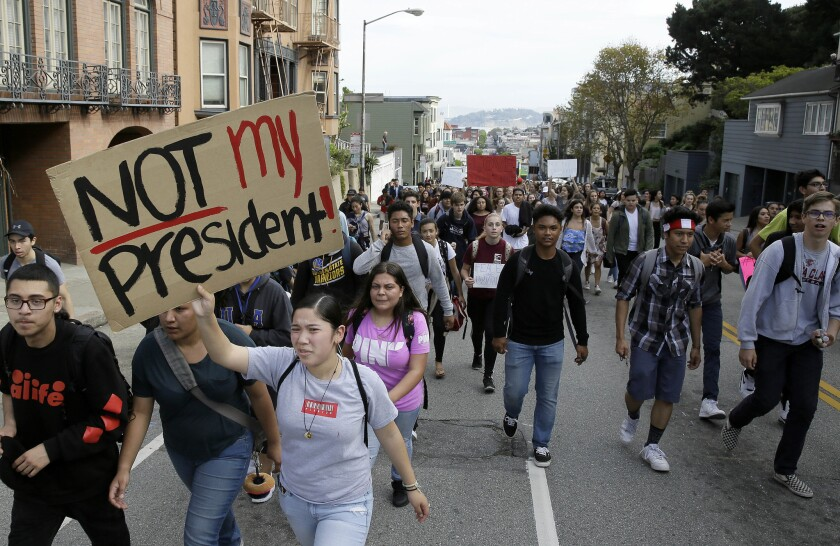 High school students in San Francisco march against Donald Trump's election victory.