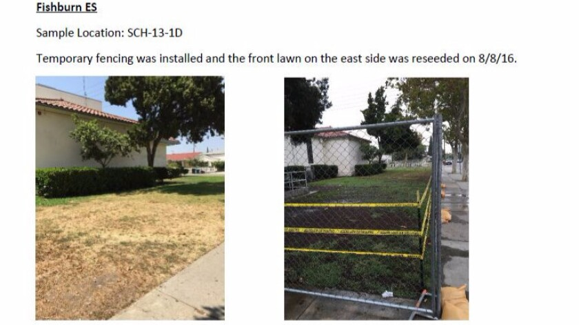 A screenshot of a report shows temporary fencing installed around an area of Fishburn Avenue Elementary School where soil tests found elevated levels of lead.
