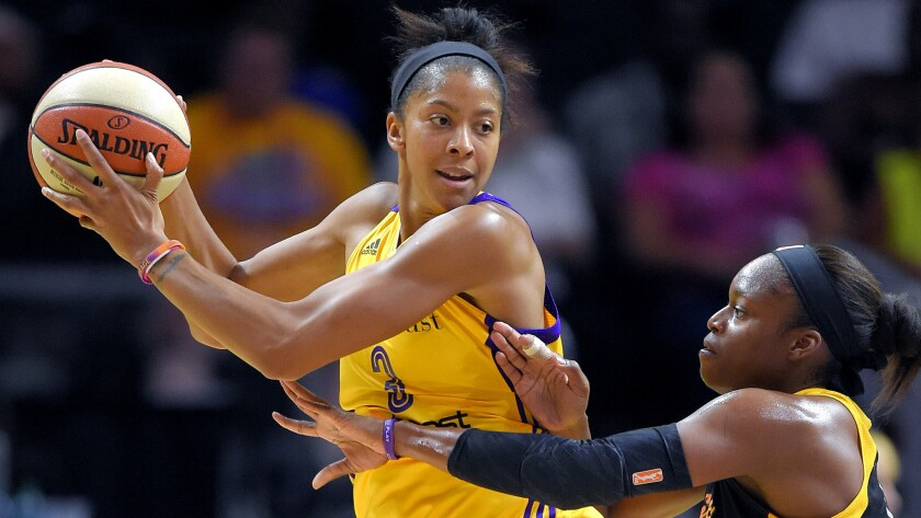 Forward Candace Parker, shown during a game Aug. 6 against the Shock, led the Sparks to a win Sunday at Staples Center.