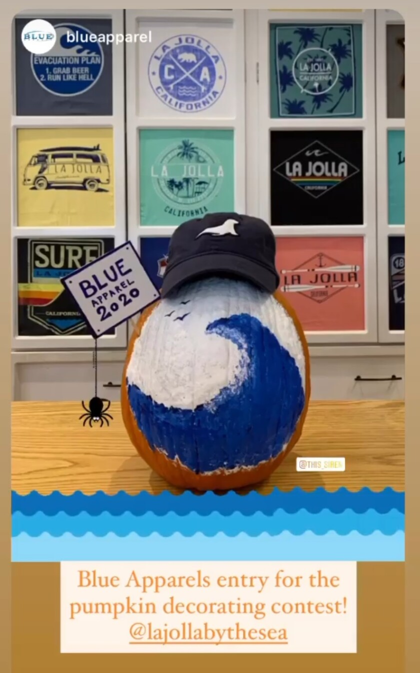 Blue Apparel's winning entry in the La Jolla Village Merchants Association pumpkin decorating contest.