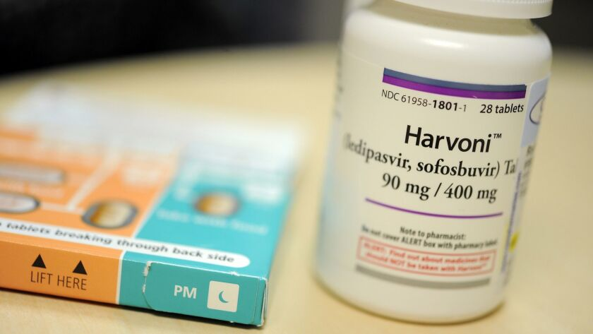 A course of treatment with Harvoni, one of Gilead's drugs for hepatitis C, is falling to $24,000. The list price was $94,500 when the drug came on the market in 2014.