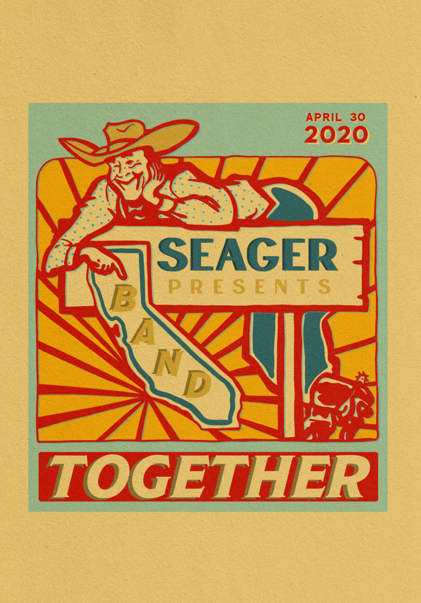 """A promotional flyer for """"Band Toegther,"""" presented by Seager on April 30"""