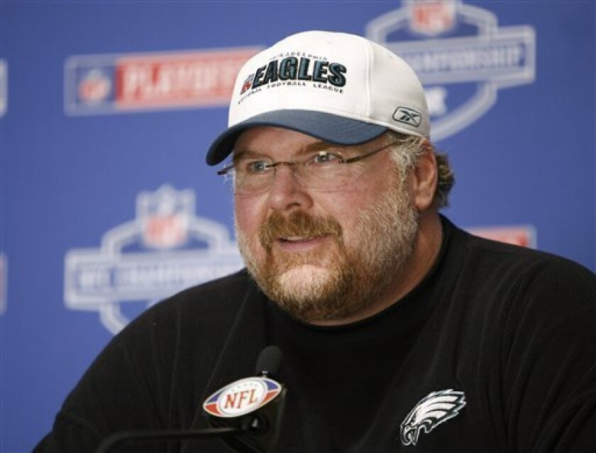 Philadelphia Eagles head coach Andy Reid speaks during a news conference in Philadelphia, Friday, Jan. 16, 2009. The Eagles face the Arizona Cardinals in the NFC Championship football game on Sunday in Phoenix. (AP Photo/Mark Stehle)